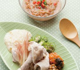 豚肉のねばっとソース & 夏野菜のガスパチョ風