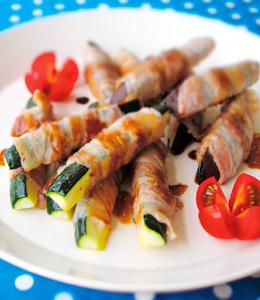 ズッキーニとナスの肉巻き バルサミコソース