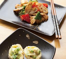 秋野菜のオイスター炒め & 揚げ納豆焼き