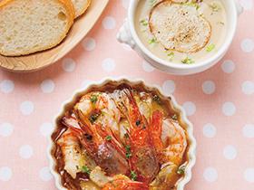 セロリとエビのオリーブオイル煮 & カブのポタージュ