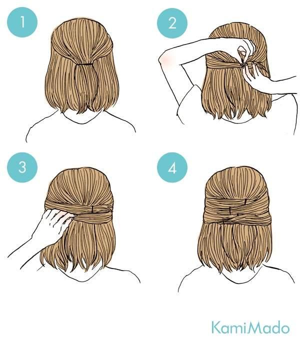 時短3分伸ばしかけの髪もエレガンスにハーフアップイラスト
