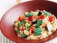 味噌風味の秋茄子玄米リゾット