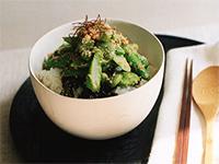アスパラガスと豆菜のタラコナムル