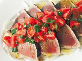 鰹のたたき トマトマリネソース