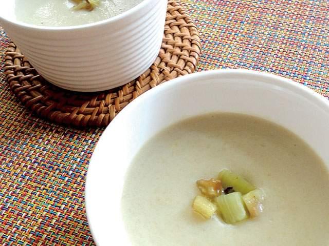 """【vol.32】せんべいの""""ダシ""""と豆乳で夏スープの完成「焼きナスの和風ポタージュスープ」"""