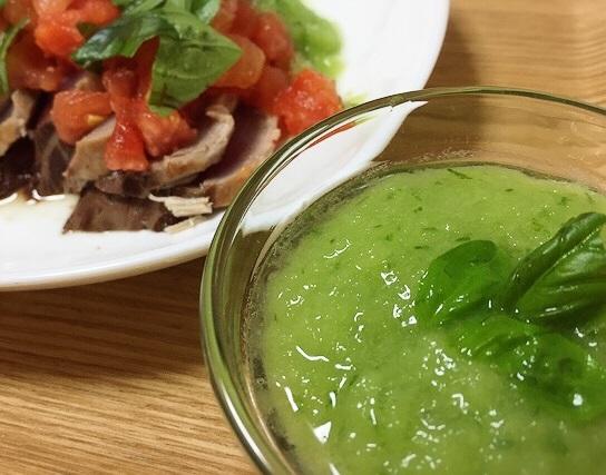 【鰹料理・続】グリーンが鮮やか♪玉ねぎ・バジルのおろしソースも合う!!