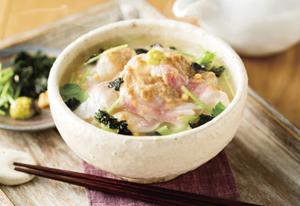 うまだし鯛茶漬け&水菜と揚げの七味あえ