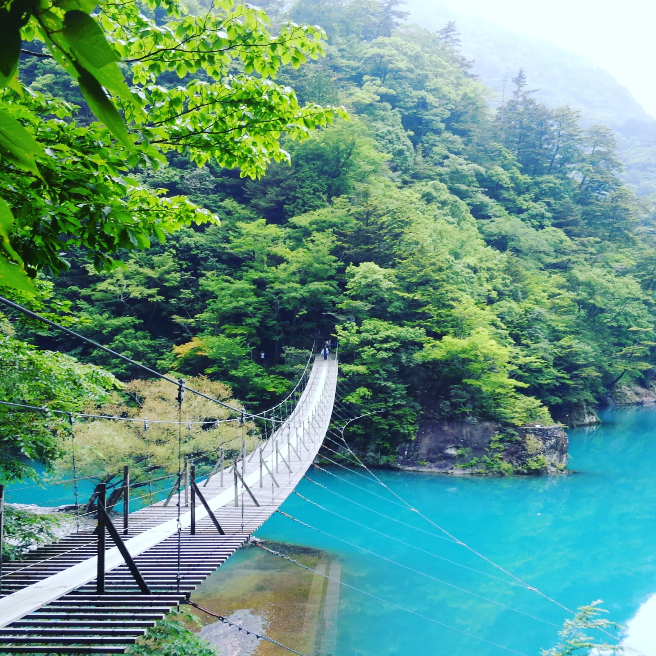 ☆【絶景】エメラルドグリーンの湖の上を歩く!寸又峡夢の吊り橋☆