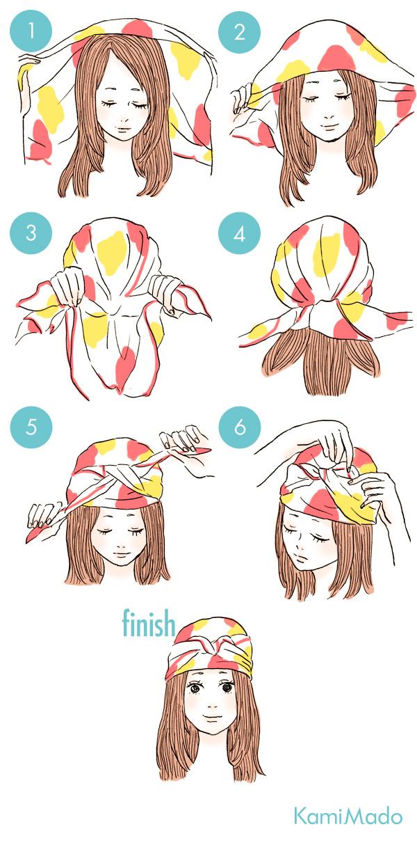 簡単でお洒落なスカーフを使ったヘアアレンジ9【イラスト付き】