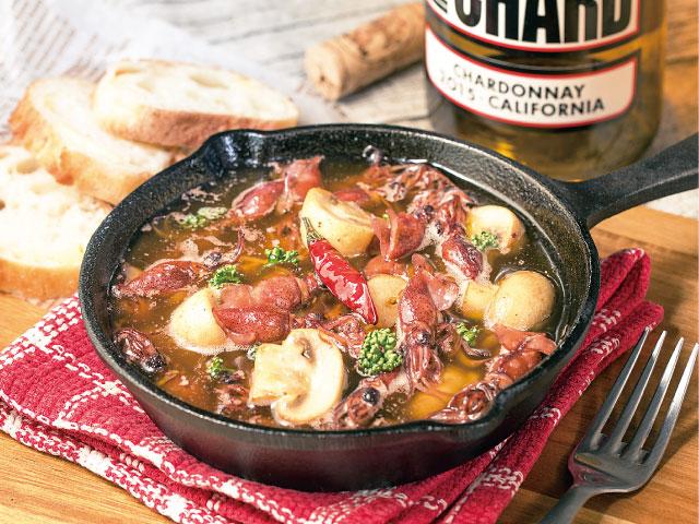 【今回の食材:ホタルイカ】ホタルイカとマッシュルームのアヒージョ