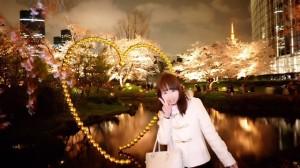 【お花見レポ④2017】六本木の毛利庭園✿さくら坂の桜の夜桜が満開♡