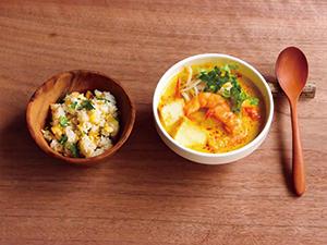 Vol.3パクチーごはんとトマトラクサ風スープ