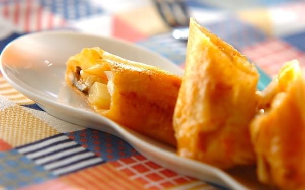 パリパリ食感がたまらない、とろ~りチーズのポテト春巻き