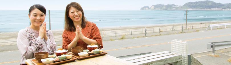 材木座の海を目の前に朝ごはん「いただきます!」(海宿食堂グッドモーニング材木座)