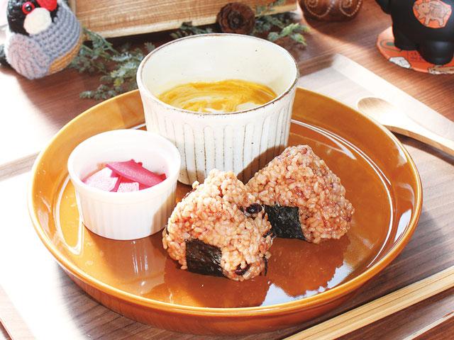 モチモチの発酵玄米おむすびとスープ ハラペコリンコ
