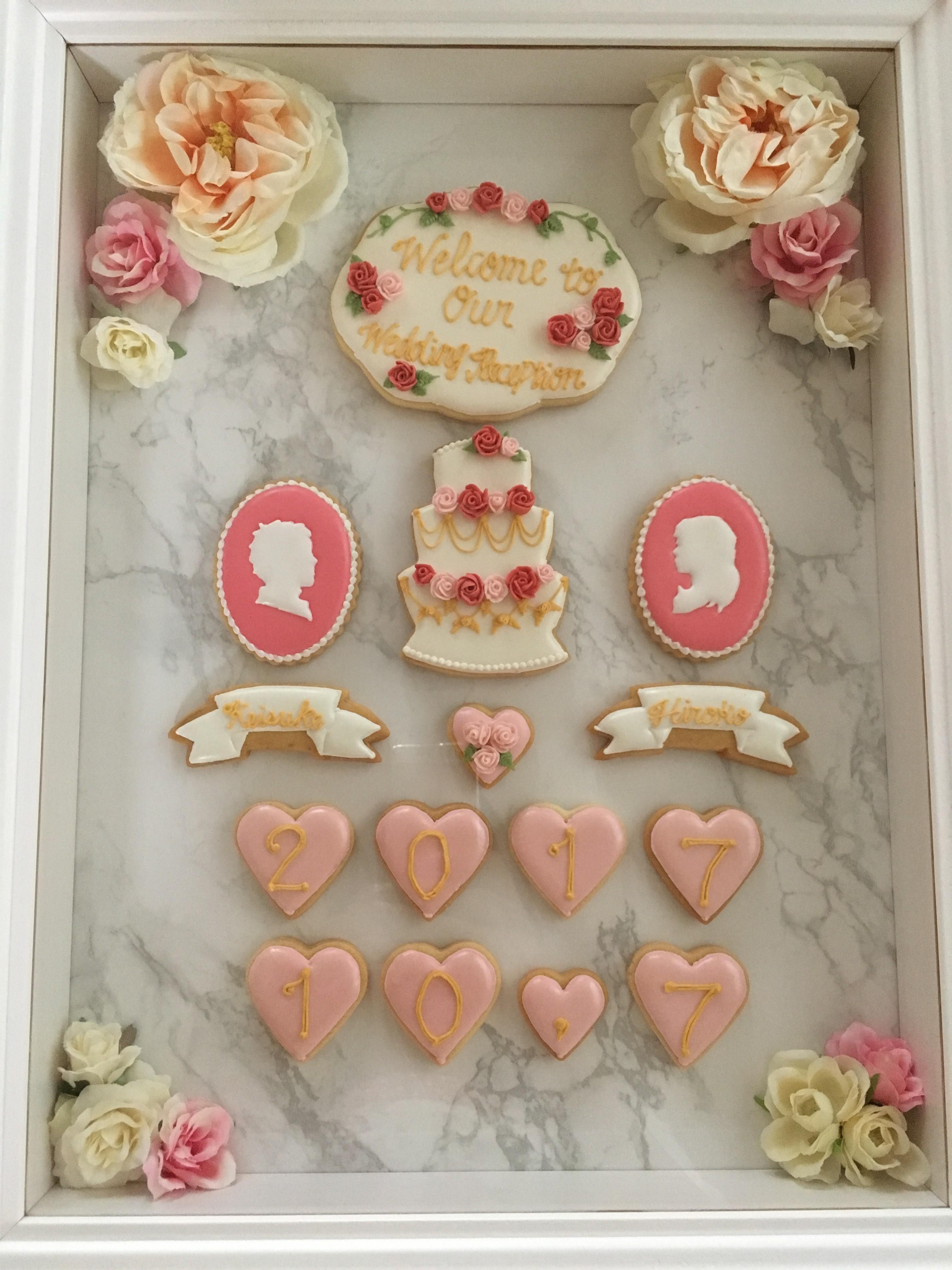 【結婚式ブログ】ウェルカムボードは趣味のアイシングクッキーで♪