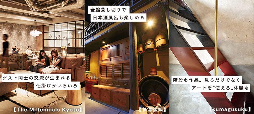 ゲスト同士の交流が生まれる仕掛けがいろいろ【The Millennials Kyoto】。全館貸し切りで日本酒風呂も楽しめる【祇園金瓢】。階段も作品。見るだけでなくアートを〝使える〟体験も【kumagusuku】