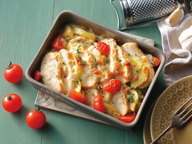 サラダチキンとポテトのチーズ焼き  サラダチキンのたっぷり薬味和え