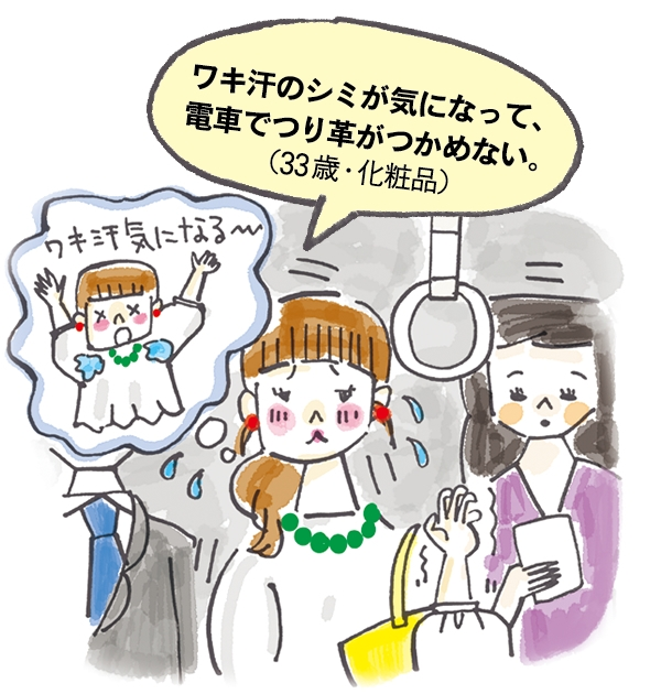 ワキ汗のシミが気になって、 電車でつり革がつかめない。(33歳・化粧品)