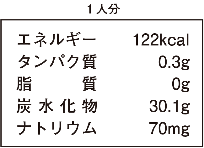 1人分:エネルギー122kcal、タンパク質0.3g、脂質0g、炭水化物30.1g、ナトリウム70mg
