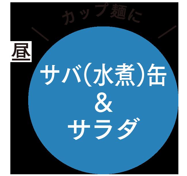 昼 カップ麺にサバ(水煮)缶&サラダ