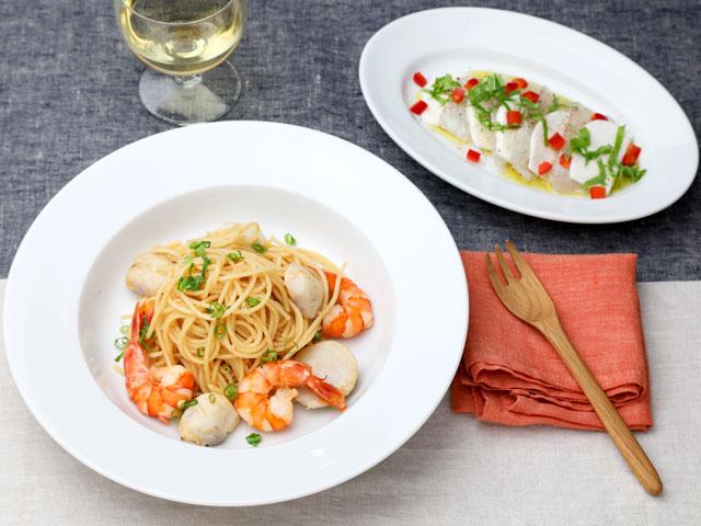 里芋と海老の醤油ペペロンチーノ&かぶと鯛のカルパッチョ