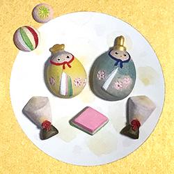 """【625】博多人形の技法で絵付け """"おはじき""""のひな人形2/13(水)"""