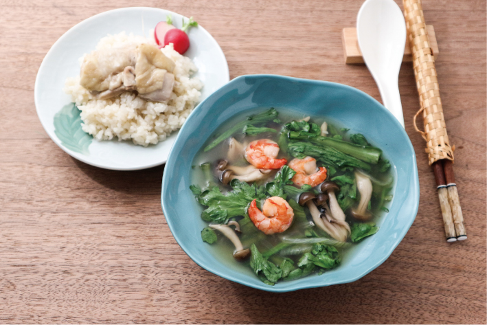 Vol.16 春菊とエビのとろみスープ&かんたん海南鶏飯