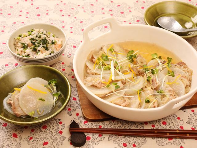 大根のミルフィーユ鍋&大根菜ごはん