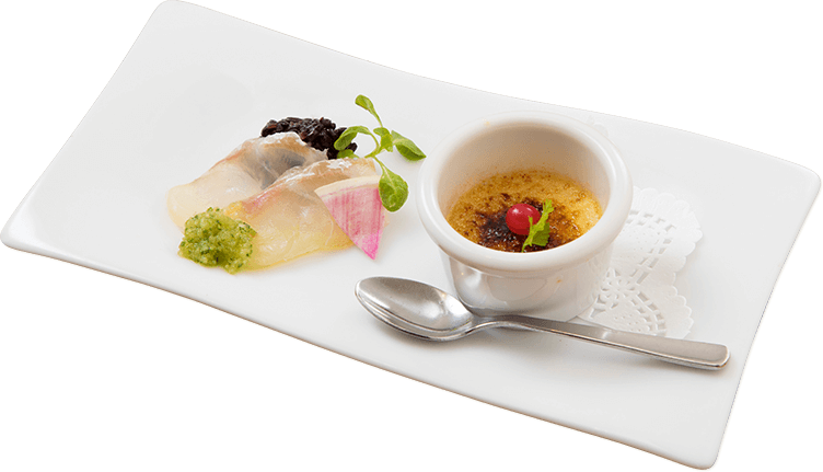 前菜 タイのカルパッチョとフォアグラのブリュレ