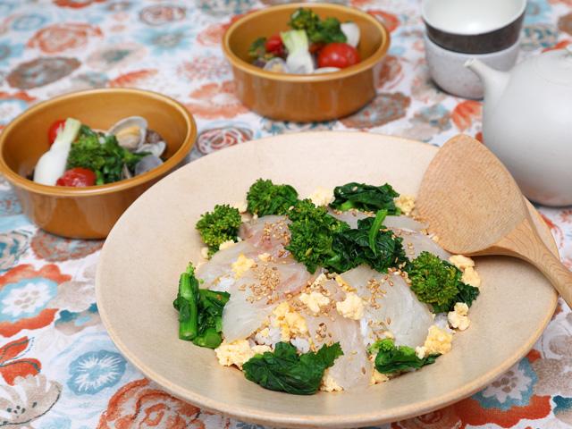 菜の花のちらし寿司&あさりと菜の花のホットサラダ