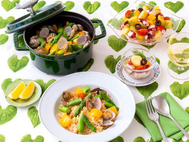 新緑野菜とアサリのパエリア風ごはん&タコと新ジャガのマリネサラダ