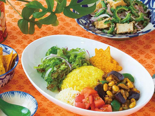 夏野菜いっぱいのタコライス&ゴーヤと厚揚げのサラダ