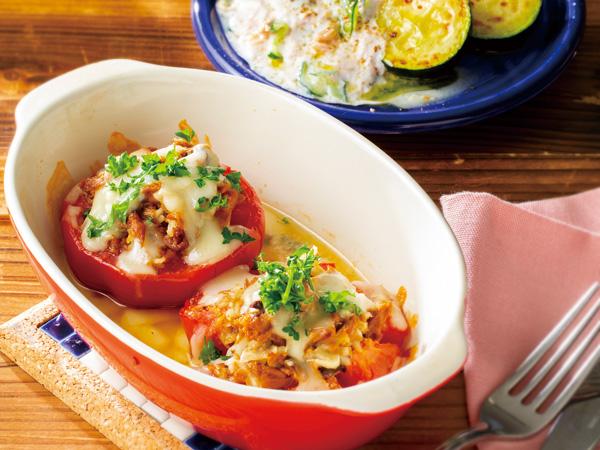 トマトのマグロフレークグラタン 焼きズッキーニのギリシャ風ソース