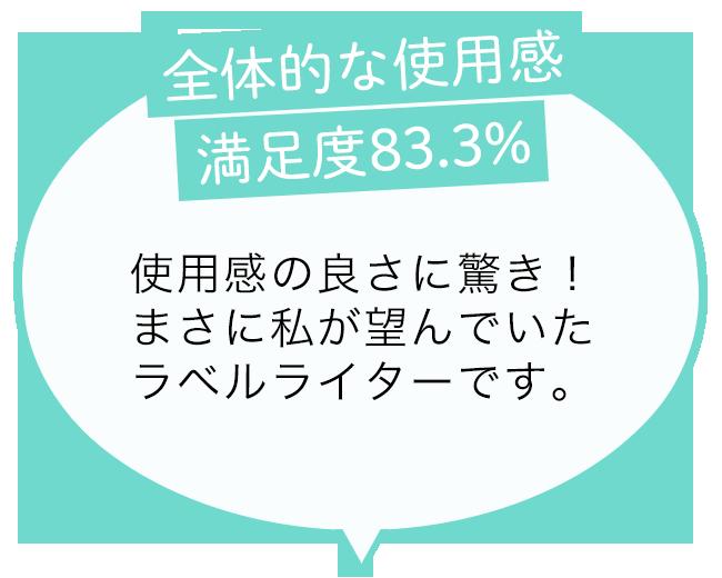 全体的な使用感:満足度83.3% 使用感の良さに驚き!まさに私が望んでいたラベルライターです。