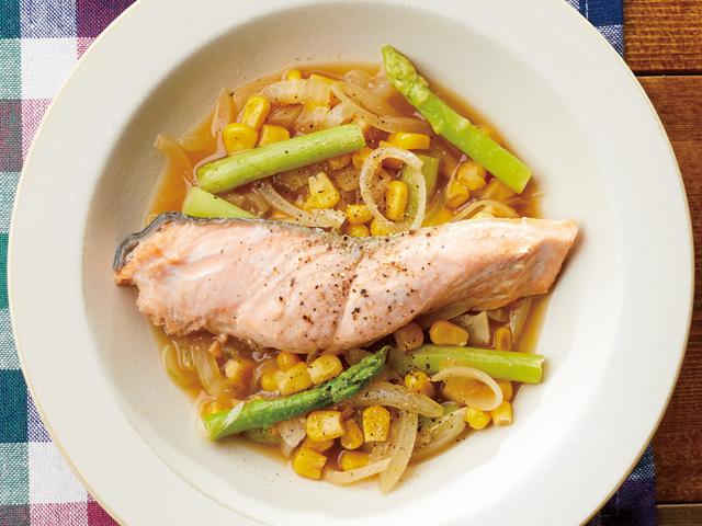 【帰宅後15分で手作りごはん】鮭とアスパラの蒸し煮&カボチャと豆の甘煮